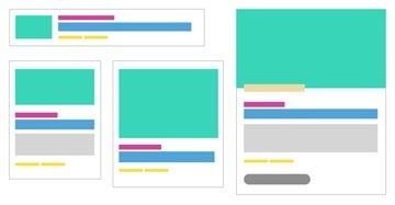 wireframes with color blocks