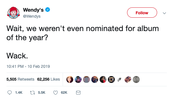 Screen shot of Wendy's tweet