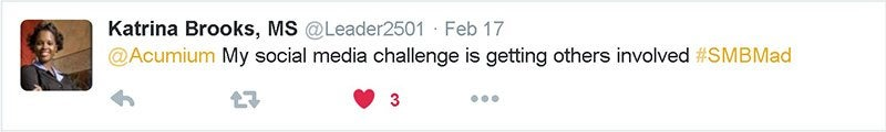 Screen caption on Twitter from Katrina Brooks about her social media challenges