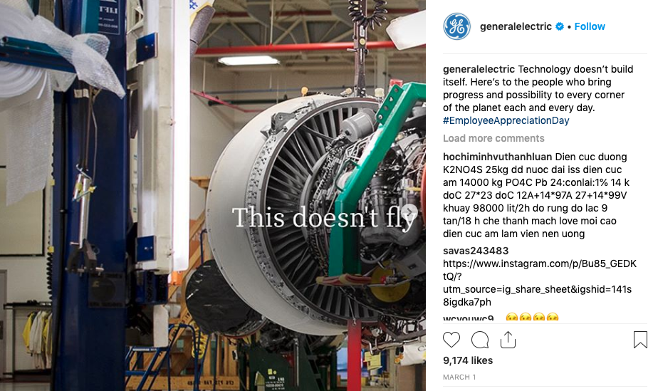 Instagram screenshot of GE