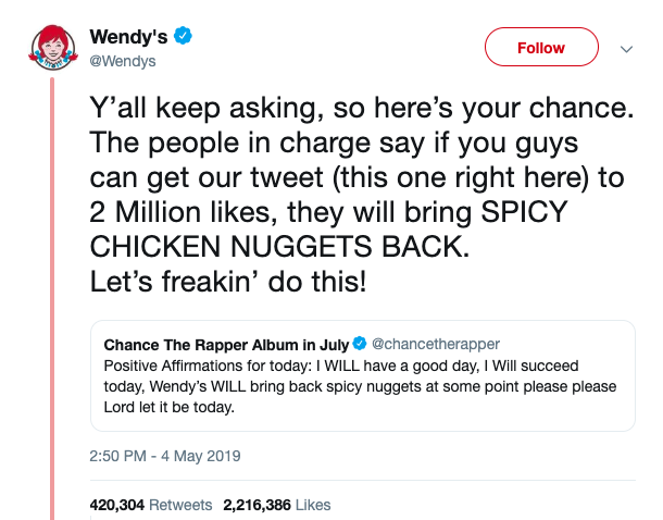 Wendy's twitter exchange with Chance The Rapper