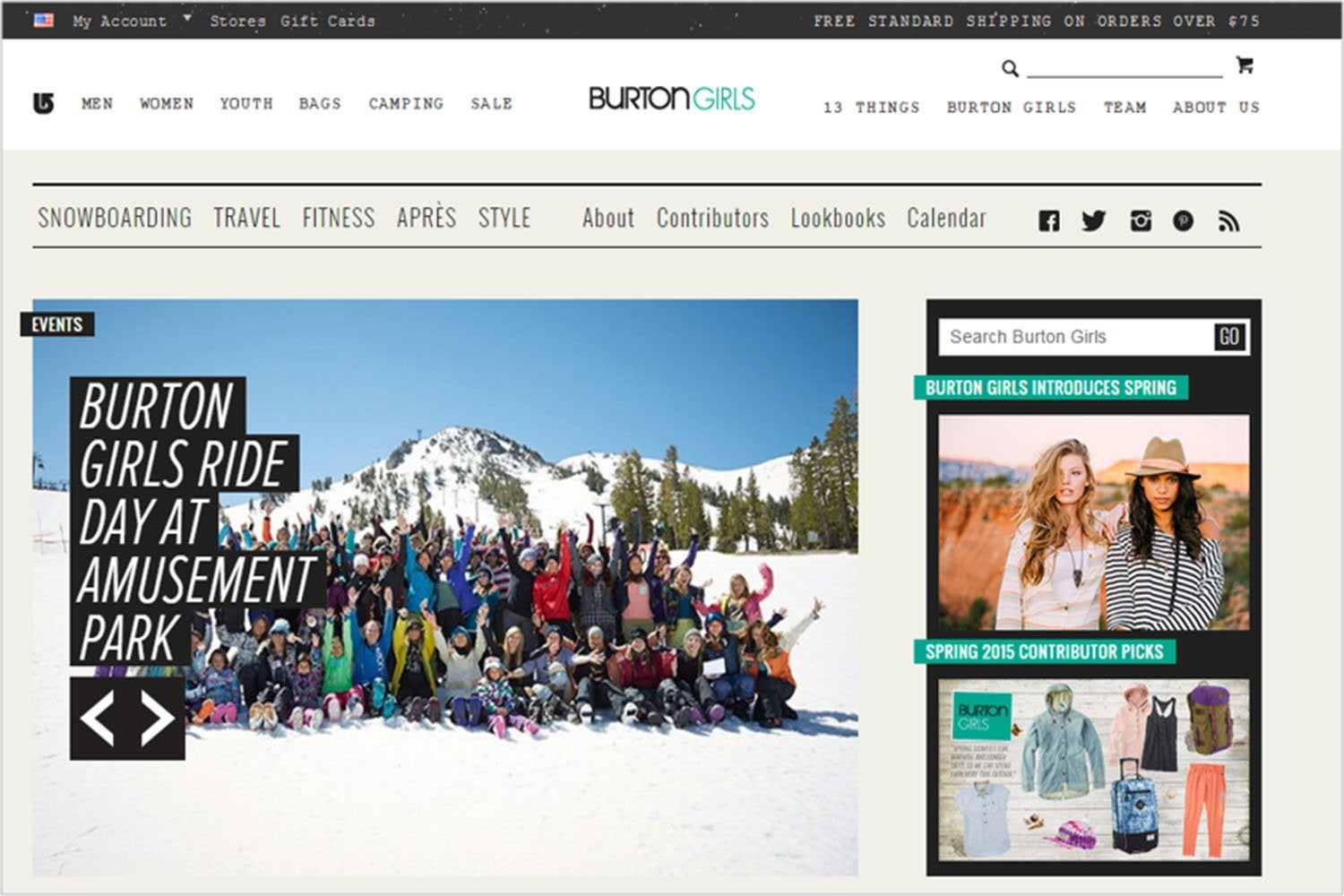 photo - burton girls screenshot of the site.