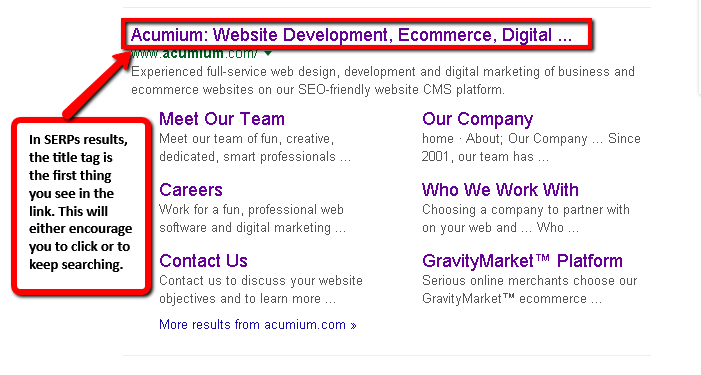 A screen grab of what SERP's are in search results