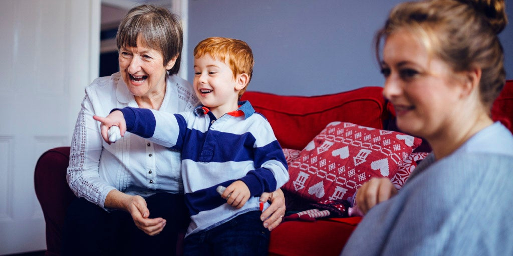 grandmother with daughter and grandson - British Seniors