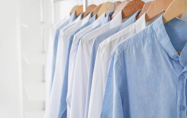 clean clothes hanging in a row