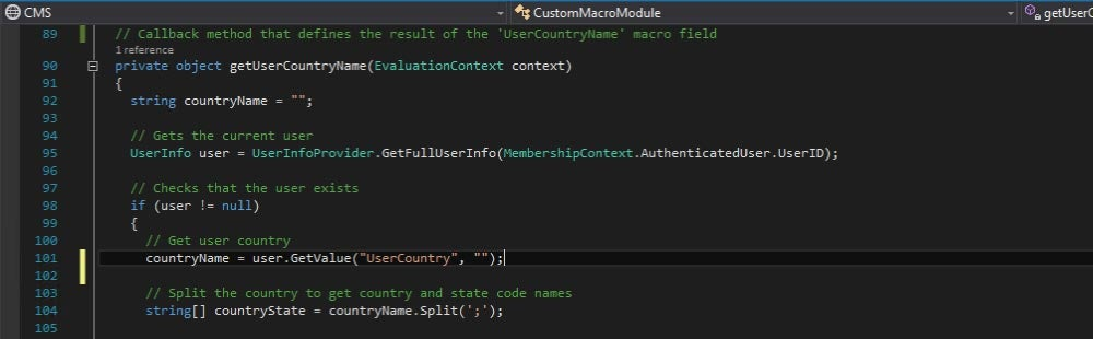 Custom macro: Get the current user's country and state