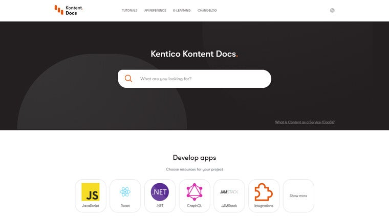Documentation portal for Kentico Kontent
