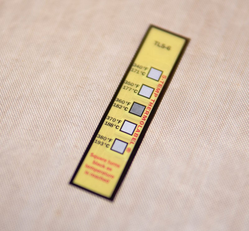 heat press temperature test strips