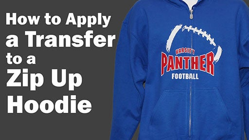 how to apply a transfer to a zip up hoodie