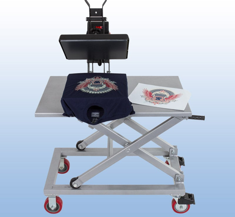 equipment cart with heat press and transfers