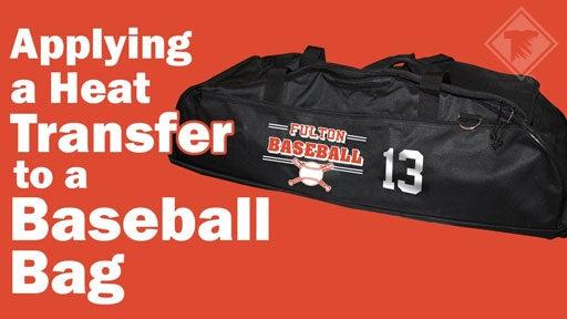applying a transfer to a baseball bat bag