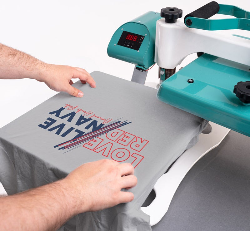 A2Z heat press with shirt and transfer