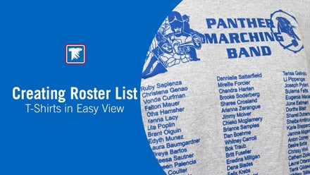 creating roster list shirts in Easy View