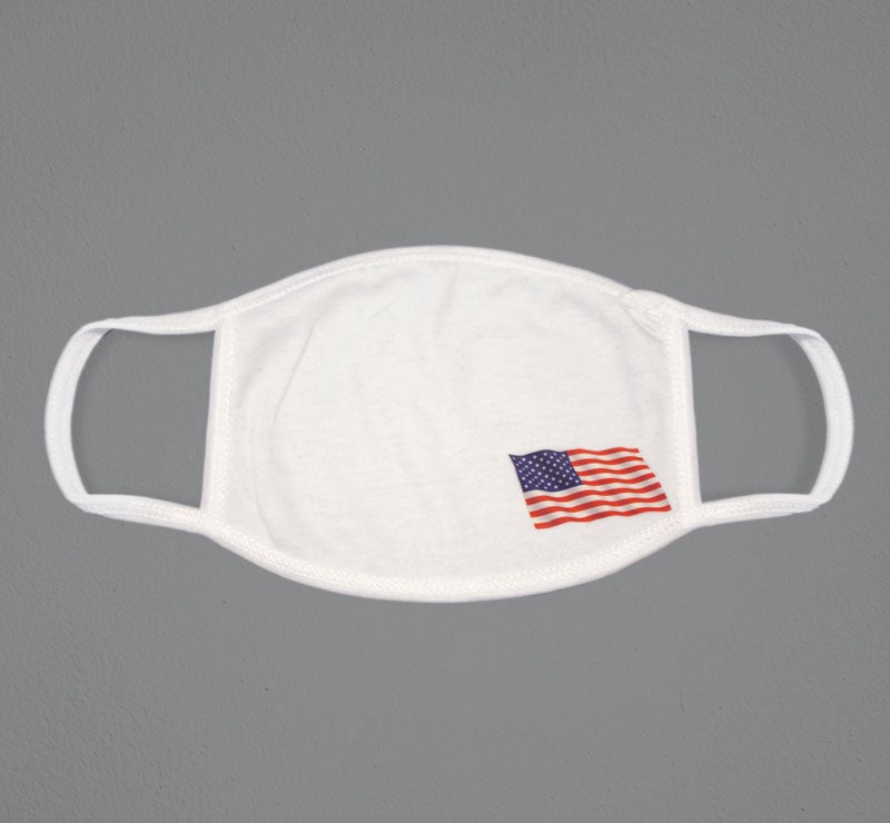 face mask printed with American flag