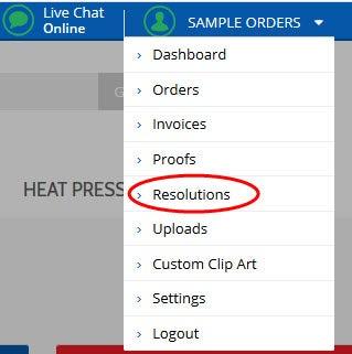 resolution center in dropdown menu