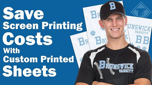 save screen printing costs with custom printed sheets