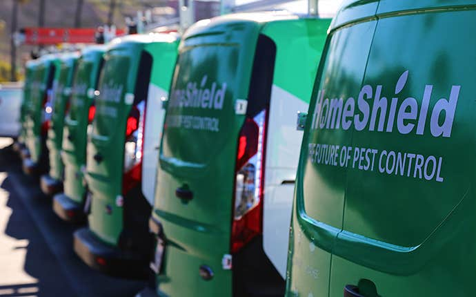 homeshield company vehicles in a line