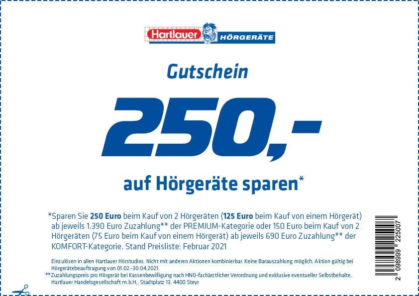 250,- Rabattgutschein