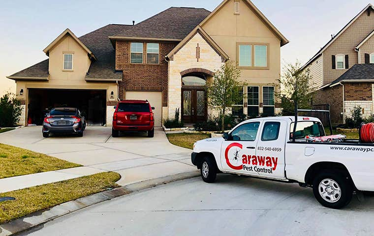 company truck at a house in texas