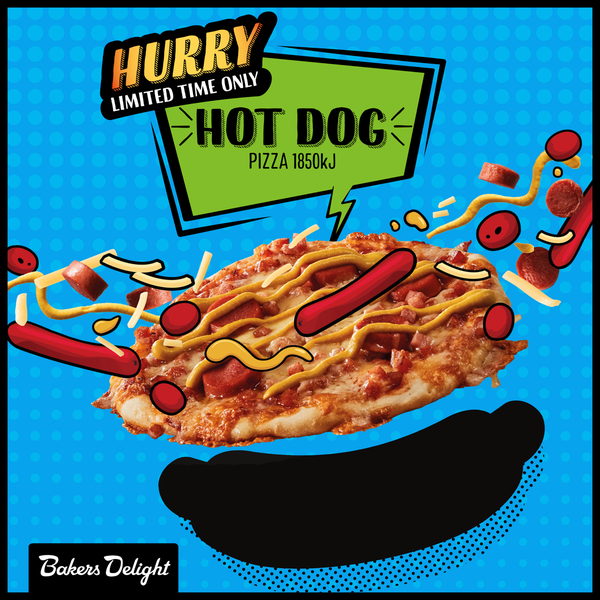Bakers Delight HotDog Pizza