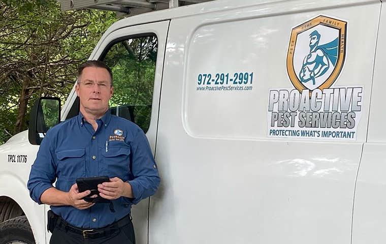 service tech in front of van