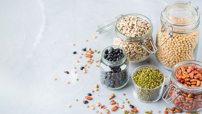 Jars of dried legumes