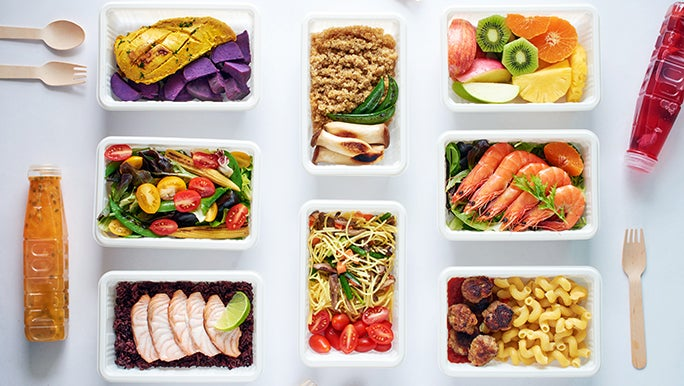 A flat lay of a dietitian created meal plan, all prepped and ready to eat.