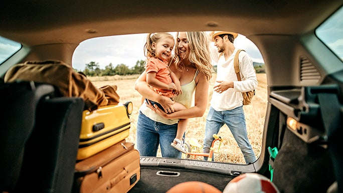 From inside a car, the camera looks out an open boot past balls and suitcases to show a family in nature.