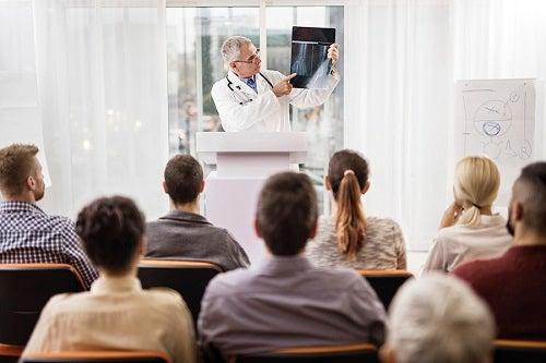 Speaker presenting X-ray