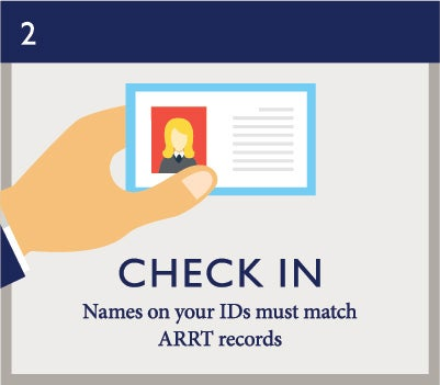Exam Day 2: Check In (names on your IDs must match ARRT records)