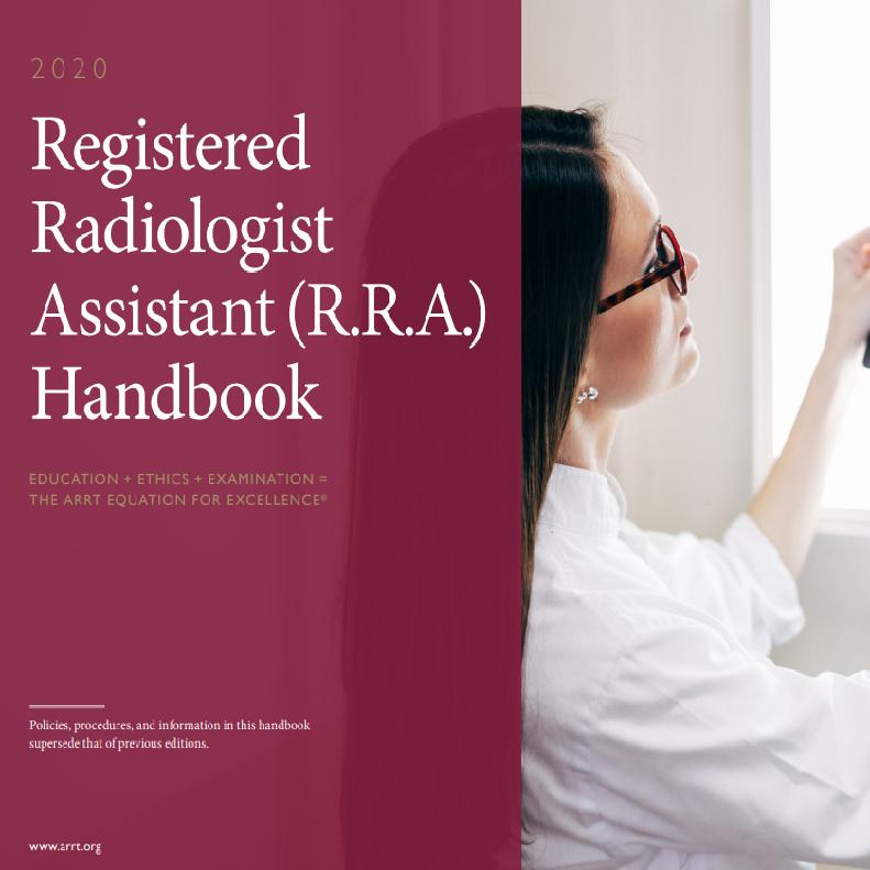 2020 Registered Radiologist Assistant RRA Handbook Cover