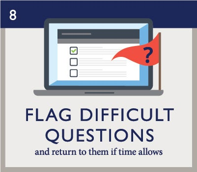 Exam Day 8: Flag difficult questions and return to them if time allows