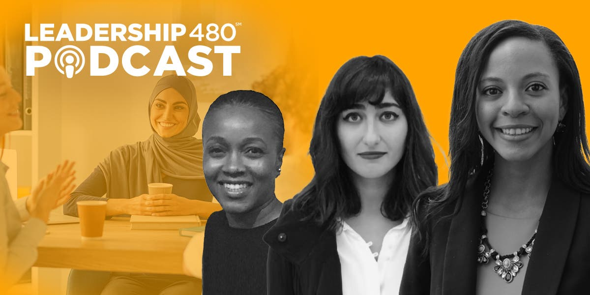 headshots of Alyia Gaskins, Sarah Haidar, and Quiana Hayes-Perciavalle with a diverse business team meeting in the background to show the subject of this podcast is on how to build inclusive teams