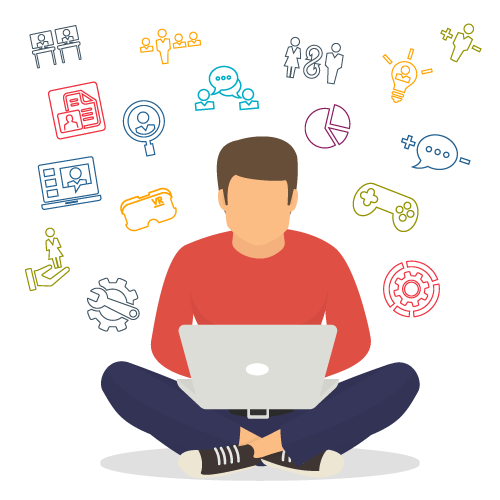 Illustration of a person sitting cross-legged with their laptop and icons around them showing a range of short microlearning options that are part of a learning journey?auto=format&q=75