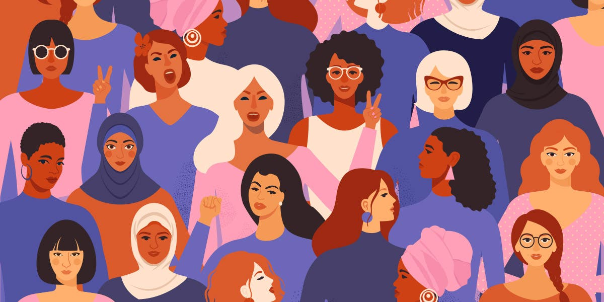several women in intersectional feminism graphic