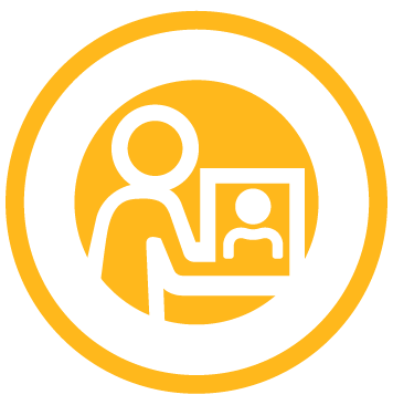 Icon of person talking with someone else on a computer to represent virtual classrooms