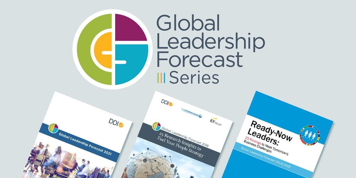 picture of the front covers for the global leadership forecast (GLF) reports from the last three releases, GLF 2021, GLF 2018, and GLF 2014-2015