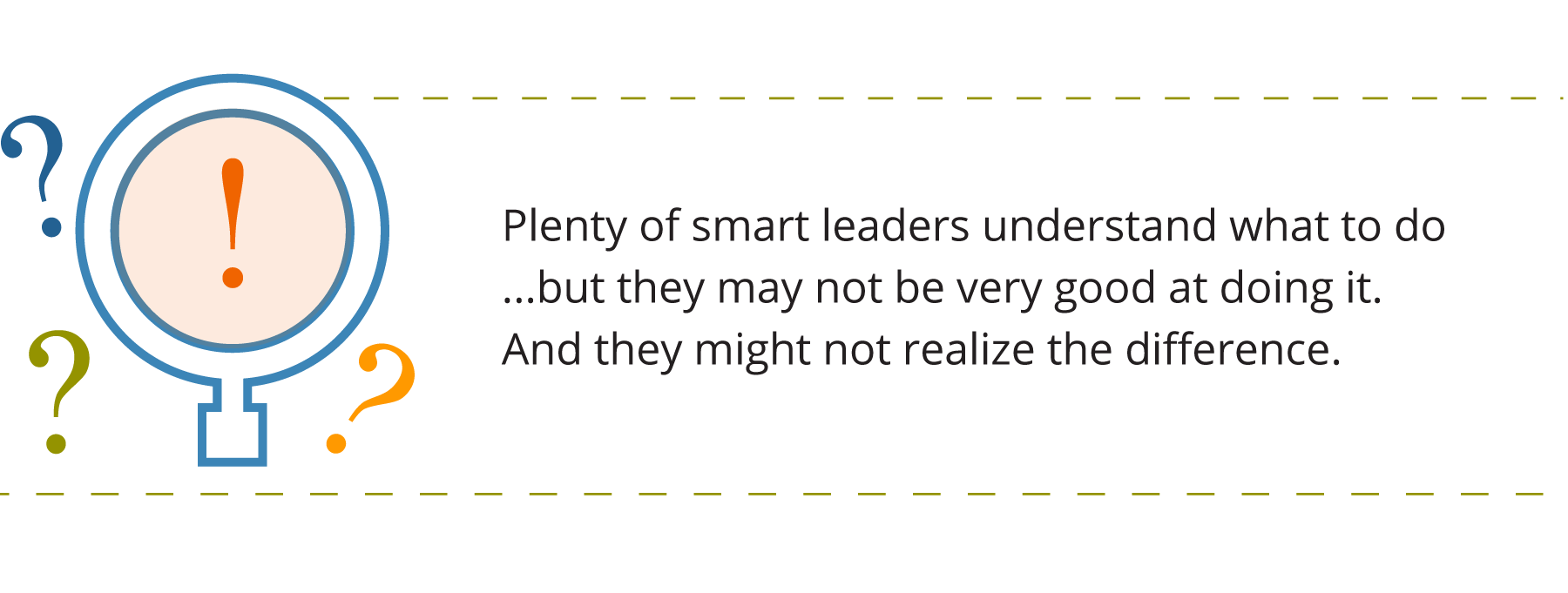 Graphic of a magnifying class with an exclamation point inside, and question marks around it. Accompanied by quote about leadership assessment types, which says