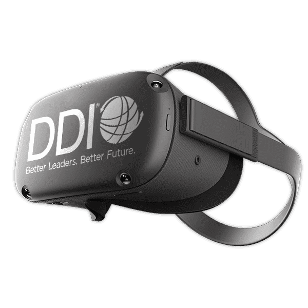 Virtual reality headset with DDI logo on the front
