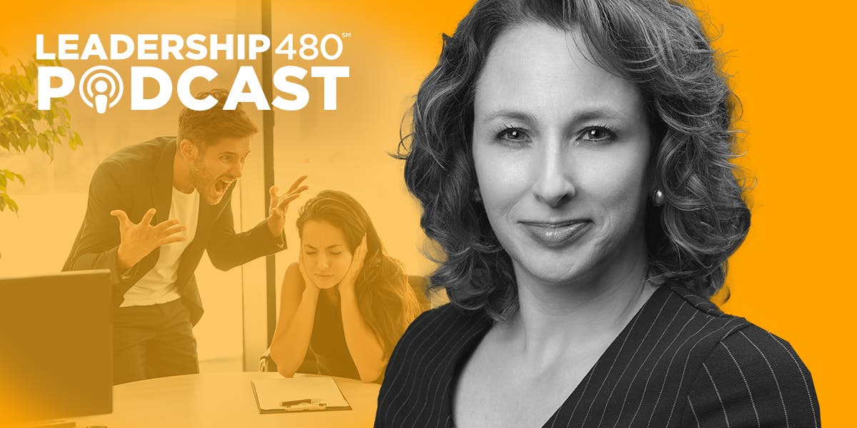 Image of Lynn Catalano with two coworkers fighting at work to show that this podcast addresses how to handle toxic relationships in the workplace