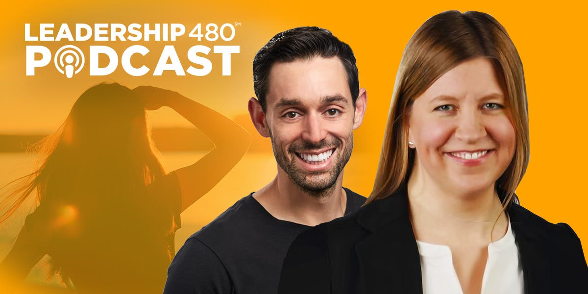 "Picture of Jacob Morgan and Stephanie Neal with the words ""Leadership 480 Podcast"" for episode discussing the future of work and its impact on leadership"