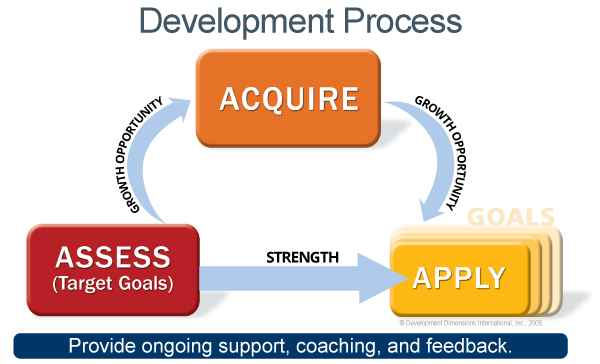 In DDI's development process, leaders are introduced to the assess, acquire, and apply phases: