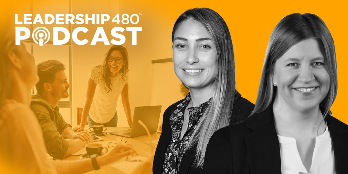 headshot images of Emily Shaffer and Stephanie Neal with a photo of three teammates working together in the background, with the leader of the team standing up, smiling at her team to show that this podcast episode is about tips of leader connectedness and why it's important to teams in the workplace