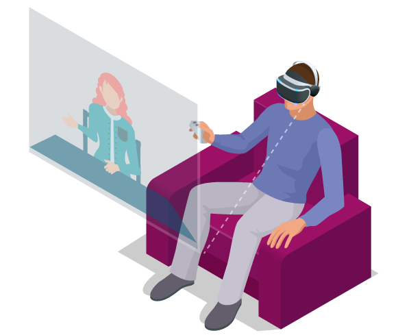 Animation with a man sitting in a chair with a VR headset on, and a view of the screen he sees with a professional woman sitting at a desk speaking to him?auto=format&q=75