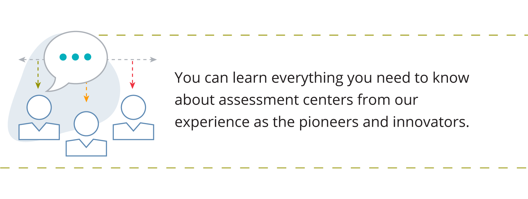 Graphic showing three people, demonstrating experience in an assessment center. Accompanied by text that says