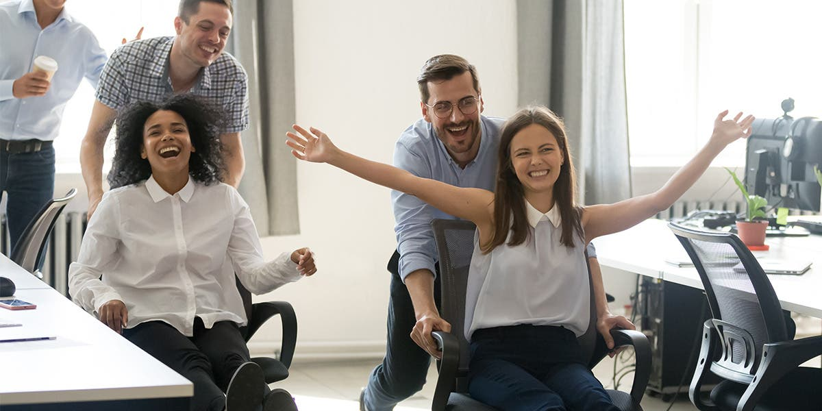 Office chair race to improve Employee Engagement