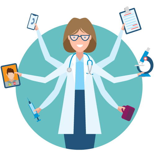 Illustration of a female-presenting medical professional with multiple arms, with each hand holding something to symbolize part of her job in healthcare leadership.?auto=format&q=75