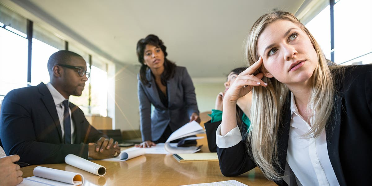 A  woman leader disengaged, as she tries to work with her team