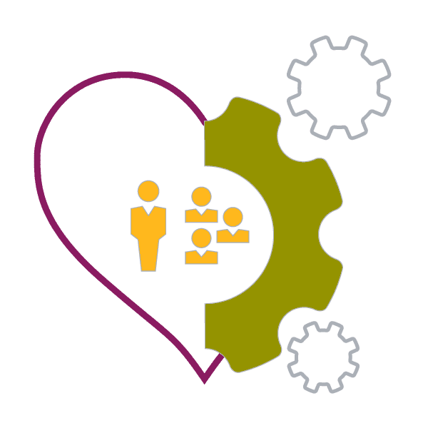 illustration of a heart filled with people icons to the left, and a gear to the right to show that people love partnering with DDI leadership consulting?auto=format&q=75