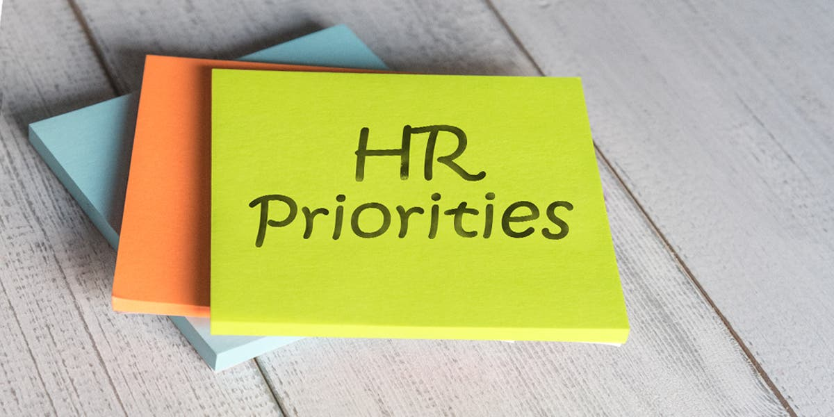 Sticky notes with HR priorities
